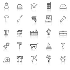 Engineering line icons with reflect on white background