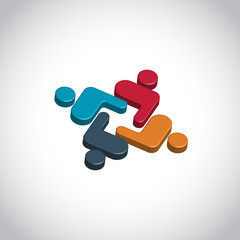 3d People Group Teamwork vector logo