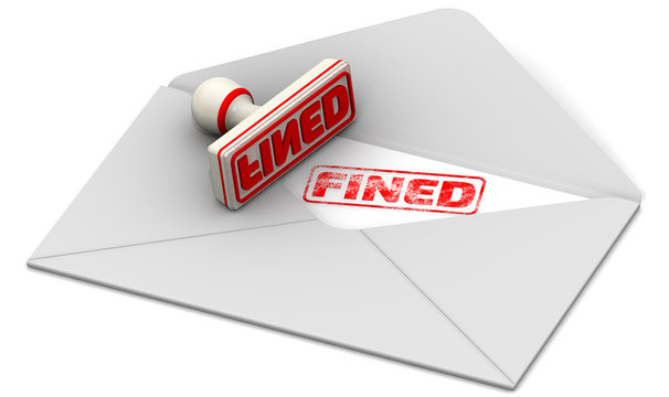 """Red seal and imprint """"FINED"""" on the sheet of open postal envelope"""