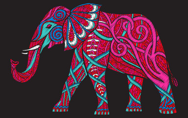 Embroidery ethnic patterned ornate elephant. 