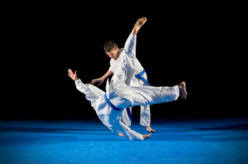 Two boys martial arts fighters