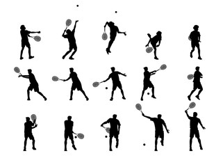 beautiful graphic design silhouette of tennis player character