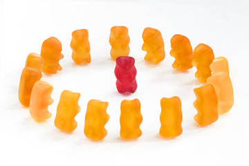 Gummy bears series - center leadership (conceptual)