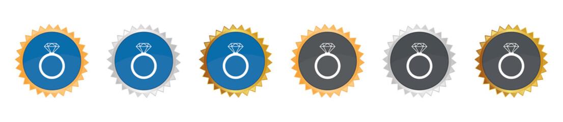Diamantenring - Gezacktes Button-Set