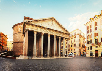Fototapete - view of famous ancient Pantheon church in Rome, Italy, retro toned