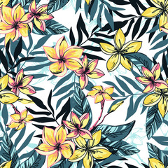 Vector illustration Tropical floral summer seamless pattern background with plumeria flowers with leaves.