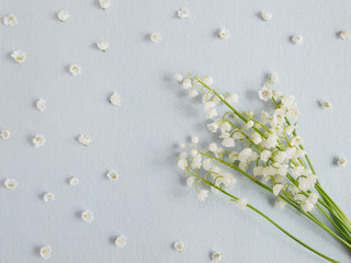 Wall Murals Lily of the valley Lily of the valley on a blue paper textured background. Pattern of small flowers of the may-lily. Abstract floral background.