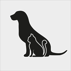 Silhouette of a dog and a cat on a gray background
