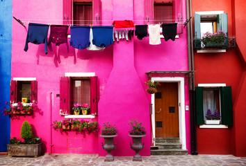 multicolored houses of Burano island, Venice, Italy, retro toned