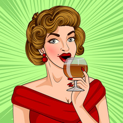 Pop art style retro lady holding glass of wine