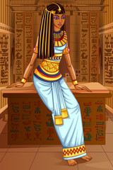Egyptian civiliziation Queen Goddess on Egypt palace backdrop
