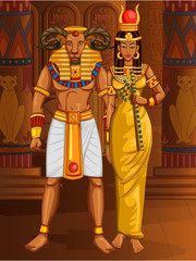 Egyptian civiliziation King Pharaoh Khnum God with Queen on Egypt palace backdrop