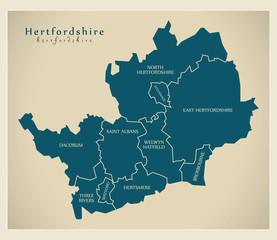 Modern Map - Hertfordshire county with labels UK illustration