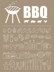 Simple Set of Barbecue Related Vector Line Icons