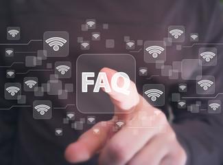 Wall Mural - Social network Wifi business button FAQ network wi fi icon