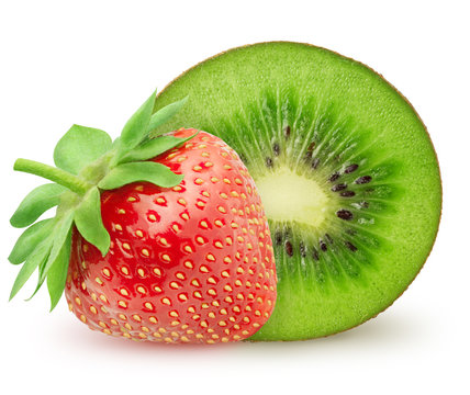 Isolated strawberry. Whole strawberry fruit with kiwi isolated on white background with clipping path