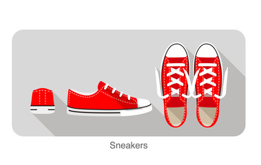 old style sport sneakers shoe, vector illustration.