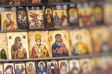 Wood made Orthodox religious painting icon, in downtown Sofia, Bulgaria.
