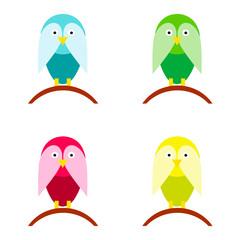 bird cartoon vector set in multiple colors