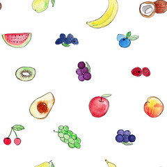 Seamless pattern with different types of watercolor hand drawn fruits. Wallpaper for food packaging design