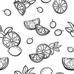 Vector seamless pattern with lemons, limes, oranges, kumquat and grapefruit. Citrus fruit mix. Can be use for fabric print, postcards or drink company.