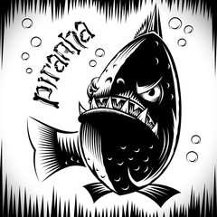 Fish Piranha with opened mouth and sharpen teeth looks forward and ready to attack; Vector ink hand drawing of tattoo print of character of the aggressive marine predator in the vintage style