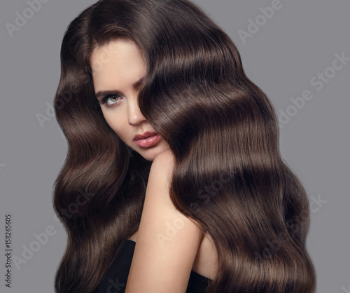 Healthy Wavy Hair Brunette Girl Beauty Portrait With Long Shiny