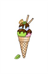 Vector doodle ice cream in a waffle horn with orange, chocolate and mint. Hand drawn illustration.