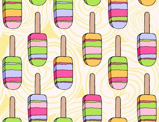 Seamless doodle pattern with eskimo. Hand drawn illustration