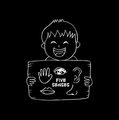 Boy holds a sheet of paper five senses. Hand drawing illustration.