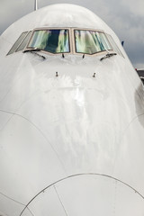 aircraft nose with cockpit window