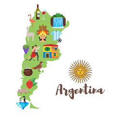 illustration of Argentina map with Argentinian national cultural symbols.