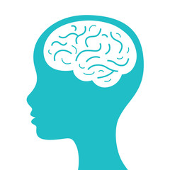 Female head with brain silhouette icon.