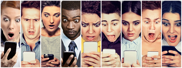 Group of people men and women looking shocked at mobile phone