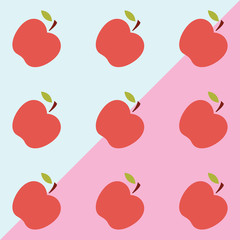 Apple pattern. Background. Vector illustration. Textile red and green fruits