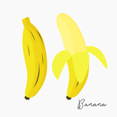 a banana and a peeled banana vector