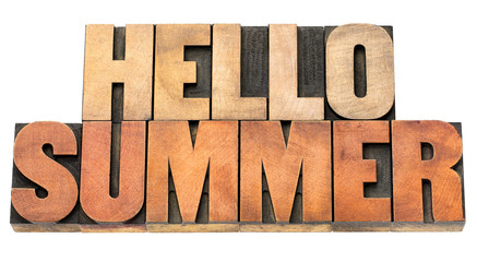 hello summer - word abstract in wood type
