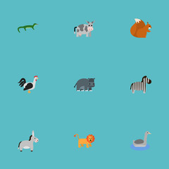 Flat Rooster, Hippopotamus, Horse And Other Vector Elements. Set Of Zoo Flat Symbols Also Includes Forest, Hippopotamus, Goose Objects.