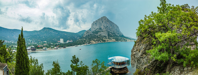 Panorama of the coast of the Novy Svet and of Green Bay, Crimea