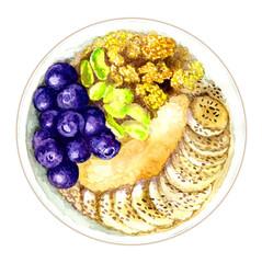 Healthy food. Nuts, bananas, berries
