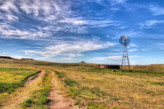 Texas water well and windmill
