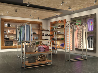 modern store interior with clothes, 3d illustration