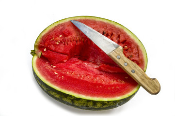 Cut slices of watermelon with knife, magnificent watermelon pictures