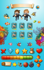 Game template with divers and sea animals
