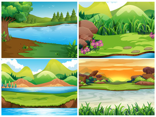 Four nature scenes with mountains