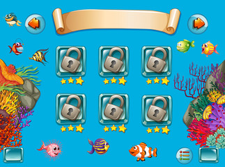 Game template with sea swimming underwater