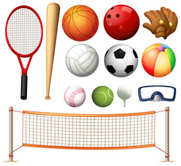 Volleyball net and different types of balls