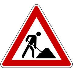 Achtung Baustelle, Gefahrzeichen 123 nach StVo