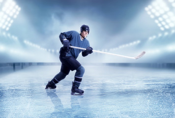 Professional ice hockey player shooting