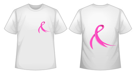 Pink ribbon on white T-shirt front and back